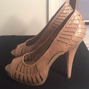 BCBG Open-toe leather heels!